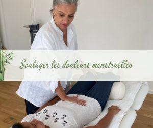 image montrant une seance de Shiatsu avec une dame se faisant masser pour soulager ses douleurs menstruelles